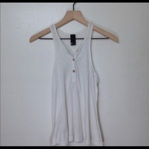 Swell White Ribbed Tank Top Size Small